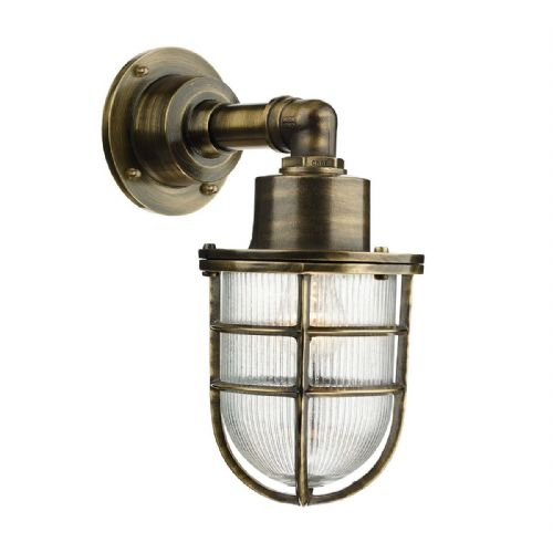 Crewe 1 Light Down Wall Light Antique Brass IP44 (Hand made, 7-10 day Delivery)